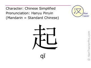 Chinesische Schriftzeichen  ( qi / qĭ ) mit Aussprache (Deutsche Bedeutung: sich erheben )