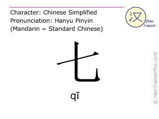 Chinese characters  ( qi / q&#299 ) with pronunciation (English translation: seven )