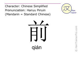 Chinesische Schriftzeichen  ( qian / qián ) mit Aussprache (Deutsche Bedeutung: vorne )