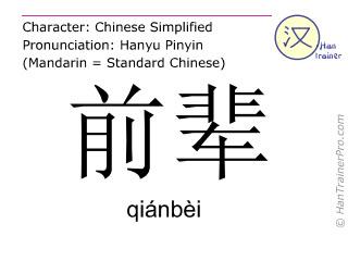 Caracteres chinos  ( qianbei / qiánbèi ) con pronunciación (traducción española: mayor )