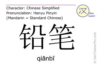 Chinesische Schriftzeichen  ( qianbi / qiānbĭ ) mit Aussprache (Deutsche Bedeutung: Bleistift )