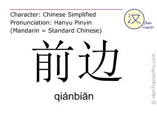 Chinesische Schriftzeichen  ( qianbian / qiánbiān ) mit Aussprache (Deutsche Bedeutung: vorne )