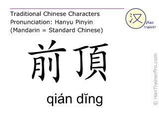 Chinese characters  ( qian ding / qián dĭng ) with pronunciation (English translation: Du Mai 21 )