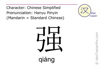 Caractère chinois  ( qiang / qiáng ) avec prononciation (traduction française: puissance )