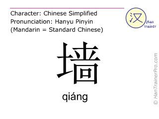 Chinesische Schriftzeichen  ( qiang / qiáng ) mit Aussprache (Deutsche Bedeutung: Wand )