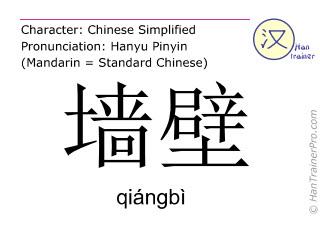 汉字  ( qiangbi / qiángbì ) 包括发音 (英文翻译: wall )