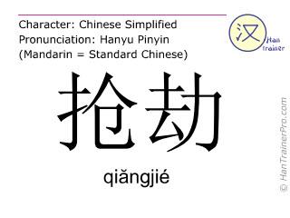 汉字  ( qiangjie / qiăngjié ) 包括发音 (英文翻译: robbery )