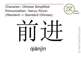 Chinesische Schriftzeichen  ( qianjin / qiánjìn ) mit Aussprache (Deutsche Bedeutung: fortschreiten )