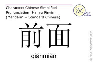 Chinesische Schriftzeichen  ( qianmian / qiánmiàn ) mit Aussprache (Deutsche Bedeutung: vorne )