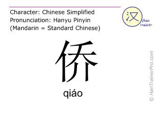 Caracteres chinos  ( qiao / qiáo ) con pronunciación (traducción española: <m>emigrante</m> )