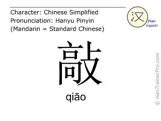 Chinesische Schriftzeichen  ( qiao / qiāo ) mit Aussprache (Deutsche Bedeutung: klopfen )