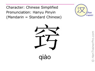Chinese characters  ( qiao / qiào ) with pronunciation (English translation: <m>opening</m> )