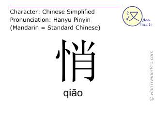Chine&shy;sische Schrift&shy;zeichen  ( qiao / qi&#257;o ) mit Aussprache (Deutsche Bedeutung: <m>ruhig</m> )