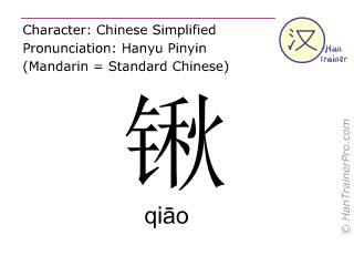 Chinesische Schriftzeichen  ( qiao / qiāo ) mit Aussprache (Deutsche Bedeutung: Schippe )
