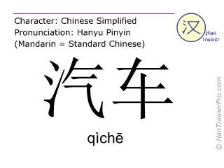 Chinesische Schriftzeichen  ( qiche / qìchē ) mit Aussprache (Deutsche Bedeutung: Fahrzeug )