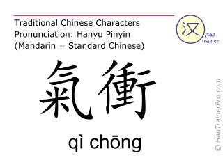Chinesische Schriftzeichen  ( qi chong / qì chōng ) mit Aussprache (Deutsche Bedeutung: Magen 30 )