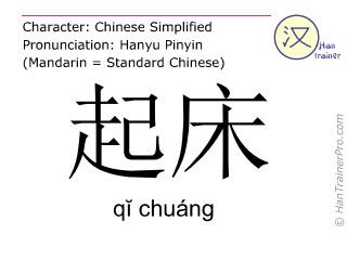 Chinesische Schriftzeichen  ( qi chuang / q&#301 chuáng ) mit Aussprache (Deutsche Bedeutung: (vom Bett) aufstehen )