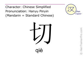Chinesische Schriftzeichen  ( qie / qiè ) mit Aussprache (Deutsche Bedeutung: entsprechen )