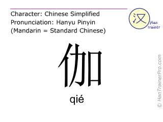 Chinese characters  ( qie / qi&eacute; ) with pronunciation (English translation: <i>surname</i> )