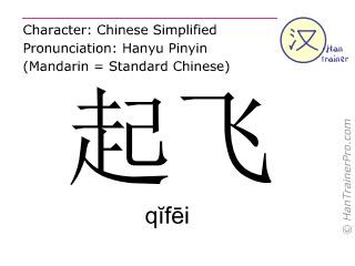 汉字  ( qifei / q&#301f&#275i ) 包括发音 (英文翻译: to take off )