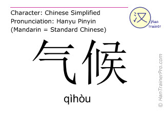 Chinese characters  ( qihou / qìhòu ) with pronunciation (English translation: climate )