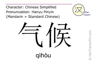 汉字  ( qihou / qìhòu ) 包括发音 (英文翻译: climate )