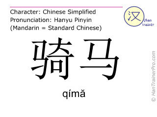 Chinese characters  ( qima / qím&#259 ) with pronunciation (English translation: to ride (a horse) )