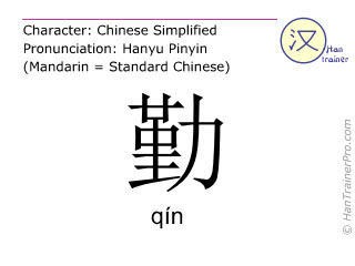 Chinese characters  ( qin / qín ) with pronunciation (English translation: frequently )