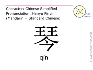 Chinese characters  ( qin / qín ) with pronunciation (English translation: lyre )
