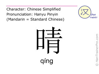 Chinese characters  ( qing / qíng ) with pronunciation (English translation: fine )