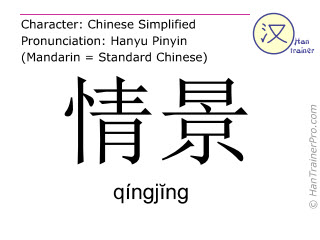 Chinese characters  ( qingjing / qíngj&#301ng ) with pronunciation (English translation: condition )