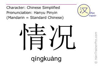Chinese characters  ( qingkuang / qíngkuàng ) with pronunciation (English translation: condition )