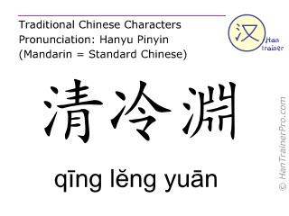 Chinesische Schriftzeichen  ( qing leng yuan / qīng lĕng yuān ) mit Aussprache (Deutsche Bedeutung: Drei-Erwärmer 11 )