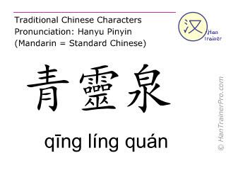 Chinese characters  ( qing ling quan / qīng líng quán ) with pronunciation (English translation: Heart 2 )