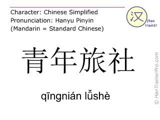 Chinesische Schriftzeichen  ( qingnian lüshe / qīngnián lǚshè ) mit Aussprache (Deutsche Bedeutung: Jugendherberge )