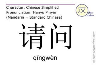 Chinesische Schriftzeichen  ( qingwen / qĭngwèn ) mit Aussprache (Deutsche Bedeutung: darf ich fragen )