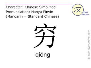 汉字  ( qiong / qióng ) 包括发音 (英文翻译: poor )