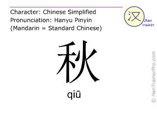 Chinesische Schriftzeichen  ( qiu / qiū ) mit Aussprache (Deutsche Bedeutung: Herbst )