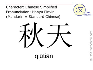 汉字  ( qiutian / qi&#363ti&#257n ) 包括发音 (英文翻译: autumn )