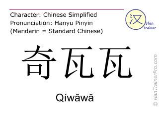 Chinese characters  ( Qiwawa / Qíwăwă ) with pronunciation (English translation: Chihuahua )