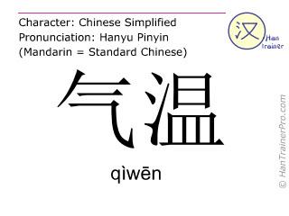 Chinesische Schriftzeichen  ( qiwen / qìwēn ) mit Aussprache (Deutsche Bedeutung: (Luft-)Temperatur )