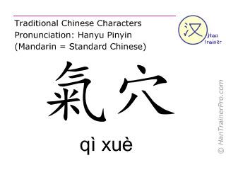 Chinesische Schriftzeichen  ( qi xue / qì xuè ) mit Aussprache (Deutsche Bedeutung: Niere 13 )