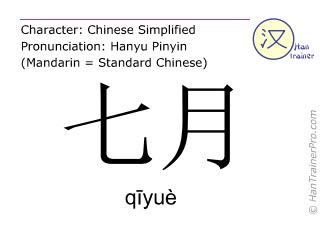 Caractère chinois  ( qiyue / qīyuè ) avec prononciation (traduction française: Juillet )