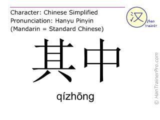 Chinesische Schriftzeichen  ( qizhong / qízhōng ) mit Aussprache (Deutsche Bedeutung: darunter )