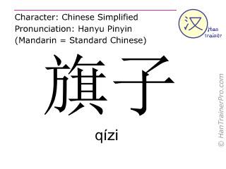 Chinesische Schriftzeichen  ( qizi / qízi ) mit Aussprache (Deutsche Bedeutung: Fahne )