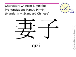 Chinese characters  ( qizi / qīzi ) with pronunciation (English translation: wife )
