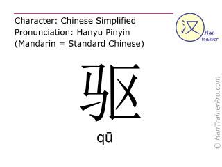 汉字  ( qu / q&#363 ) 包括发音 (英文翻译: to drive )