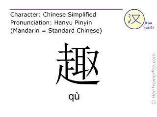 Chinesische Schriftzeichen  ( qu / qù ) mit Aussprache (Deutsche Bedeutung: Interesse )