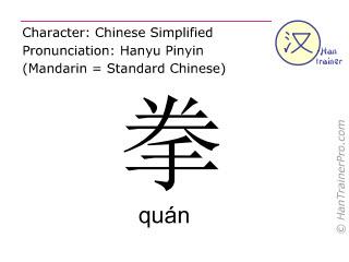 Chinesische Schriftzeichen  ( quan / quán ) mit Aussprache (Deutsche Bedeutung: Faust )