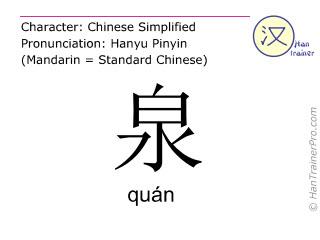 汉字  ( quan / quán ) 包括发音 (英文翻译: spring )